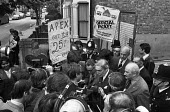 Grunwick strike for union recognition 1977. Lord Scarman visiting picket line. - NLA - , Trades Union,1970s,1977,APEX,Asian Asians,at,BME black,de recognition,derecognition,dispute,DISPUTES,ethnic,ETHNICITY,Grunwick,INDUSTRIAL DISPUTE,industrial relations,interview interviewing,journali