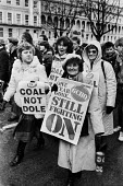 Protest at banning of trade unions at GCHQ and Coal Not Dole. Protest on first anniversary of ban, Cheltenham - NLA - 1980s,1985,activist,activists,anniversary,ban,banned,banning,bans,CAMPAIGN,campaigner,campaigners,CAMPAIGNING,CAMPAIGNS,Cheltenham,civil rights,civil service,DEMONSTRATING,demonstration,DEMONSTRATIONS