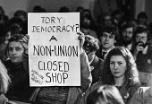 Protest at banning of trade unions at GCHQ. Rally during Day of Action - NLA - 1980s,1984,activist,activists,ban,banned,banning,bans,CAMPAIGN,campaigner,campaigners,CAMPAIGNING,CAMPAIGNS,Cheltenham,civil rights,civil service,Day of Action,DEMONSTRATING,DEMONSTRATION,DEMONSTRATIO