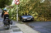 A cyclist rides past a tree that has fallen onto a parked car. The morning after the storm in Brighton and Hove, East Sussex. - Nick Rain - 2010s,2013,accident,accidental,accidents,AUTO,AUTOMOBILE,AUTOMOBILES,AUTOMOTIVE,autumn,AUTUMNAL,bicycle,bicycles,BICYCLING,Bicyclist,Bicyclists,BIKE,BIKES,BMW,car,cars,CLIMATE,conditions,crushed,cycle