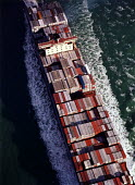 Aerial view of a Maersk Line container ship, Regina Maersk, looking directly over its cargo. - Paul Carter - 04-10-1996