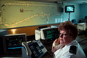 Police controller at the Motorway Control Centre at Police HQ, Winchester. - Paul Carter - 08-06-1993