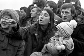 A mother and child join the picket line at Cortonwood colliery, South Yorkshire towards the end of the strike - Peter Arkell - 02-11-1984