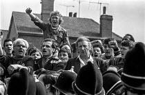 Arthur Scargill speaking at Ollerton Colliery, Nottinghamshire, where striking miner David Jones was killed. - Peter Arkell - 27-04-1984