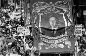 Bentley NUM banner with the face of Arthur Scargill. Demonstration of miners and their supporters, Mansfield, Nottinghamshire. - Peter Arkell - Arthur,Scargill,banner,banner,banners,Bentley,demonstration,Mansfield,miner,Miner's Strike,the,Miners Strike,Miners,Nottinghamshire,NUM,placard,placards,protest,demonstration,strike,strike,strikes,sup