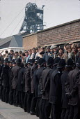 Police hold back pickets at Blidworth colliery, Nottinghamshire during the miners strike - Peter Arkell - 06-10-1984