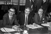 NUM leaders (L-R) Mick McGahey, Joe Gormley and Lawrence Daly at a press conference after an executive meeting about the 1974 miners strike. - Peter Arkell - 12-02-1974