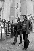 Ricky Tomlinson (left) and Des Warren, the Shrewsbury 2, at the appeal court, London. - Peter Arkell - 1970s,1974,appeal,at,Building workers strike 1972,conspiracy charges,court,disputes,INDUSTRIAL DISPUTE,member,member members,members,people,Ricky Tomlinson,rights,Shrewsbury,Shrewsbury 2,Shrewsbury 24