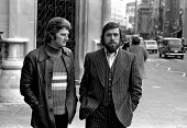 The Shrewsbury 2. Des Warren (left) and Ricky Tomlinson at the Appeal Court in London. - Peter Arkell - 1970s,1974,Appeal,at,Building workers strike 1972,Court,Des Warren,disputes,INDUSTRIAL DISPUTE,member,member members,members,people,Ricky Tomlinson,rights,Shrewsbury,Shrewsbury 2,Shrewsbury 24,shrewsb