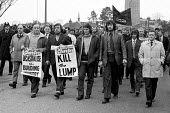 March past the Shrewsbury Court 1973 where 24 building workers were indicted on conspiracy charges arising from picketing during the building workers strike of 1972. Ricky Tomlinson (carrying the Kill... - Peter Arkell - 1970s,1973,activist,activists,at,building,Building workers strike 1972,BUILDINGS,CAMPAIGN,campaign campaigning,campaigner,campaigners,CAMPAIGNING,CAMPAIGNS,Court,DEMONSTRATING,demonstration,DEMONSTRAT