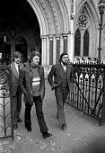 The Shrewsbury 2, Des Warren (left) and Ricky Tomlinson leaving the High Court during their appeal hearing. London - Peter Arkell - 1970s,1974,appeal,at,Building workers strike,Building workers strike 1972,campaign campaigning,Court,Des Warren,disputes,INDUSTRIAL DISPUTE,leaving,London,member,member members,members,people,Ricky To