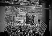 Docks strike 1972. Lobby of the Docks Delegates meeting at Transport House to demand a national dock strike. The meeting was held the day after the Pentonville 5 were released from prison. Dockers tur... - Peter Arkell - ,1970s,1972,anti union law,anti union laws,anti union legislation,banner banners,DELEGATE,Delegates,disputes,dock,Dock strike,dockers lobby of TGWU,Docks,Docks Labour Scheme,docks strike,docks strike
