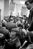 Docks strike 1972. Lobby of the Docks Delegates meeting at Transport House to demand a national dock strike and a rejection of the Jack Jones Lord Aldington compromise. The meeting was held the day af... - Peter Arkell - ,1970s,1972,anti union law,anti union laws,anti union legislation,DELEGATE,Delegates,disputes,dock,Dock strike,Docks,docks delegates,Docks Labour Scheme,docks strike,harbor,harbors,HARBOUR,harbours,Ho