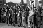 Docks strike 1972. Dockers at the West India Docks in East London vote to support the secondary picketing of cold stores in defiance of the National Industrial Relations Court. Five dockers, The Pento... - Peter Arkell - 16-06-1972