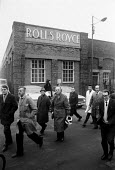Rolls Royce workers leaving the Rolls Royce Derby plant three days after the announcement of the collapse of the company. The Heath government baled it out, via nationalisation. - Peter Arkell - 1970s,1971,bankrupt,bankruptcy,cities,city,collapse,EBF,Economic,Economy,employee,employees,Employment,FACTORIES,factory,government,job,jobs,lbr,leaving,male,man,men,nationalisation.,people,person,per