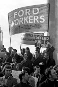 Ford workers, Halewood, Liverpool, at the beginning of the 1971 strike. Protest at the pierhead, Liverpool - Peter Arkell - 1970s,1971,activist,activists,AEU,against,automotive,banner,banners,CAMPAIGN,campaigner,campaigners,CAMPAIGNING,CAMPAIGNS,Car Industry,carindustry,DEMONSTRATING,DEMONSTRATION,DEMONSTRATIONS,disputes,F