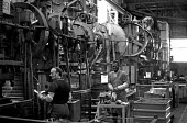 Inside the Dagenham factory just after the end of the 1971 strike. Old machinery. Dagenham River Plant. - Peter Arkell - 14-04-1971