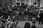 Large number of photographers and TV cameramen filming Margaret Thatcher arriving, 1979 election victory, Downing Street, London - Peter Arkell - 04-05-1979