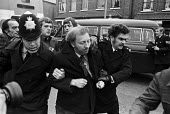 Grunwick strike and lock-out for union recognition of APEX 1977. Police arresting Arthur Scargill, Yorkshire NUM leader at mass picket - Peter Arkell - Trades Union,1970s,1977,adult,adults,APEX,ARREST,ARRESTED,arresting,Arthur Scargill,at,CLJ,de recognition,derecognition,dispute,DISPUTES,Grunwick,INDUSTRIAL DISPUTE,industrial relations,leader,mass,ma