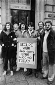 Protest at banning of trade unions at GCHQ. Picket at Cabinet Office during Day of Action - NLA - , Trades Union,1980s,1984,activist,activists,ban,ban banned,banned,banning,bans,CAMPAIGN,campaigner,campaigners,CAMPAIGNING,CAMPAIGNS,Cheltenham,civil rights,civil service,DEMONSTRATING,DEMONSTRATION,