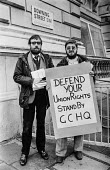 Protest at banning of trade unions at GCHQ. Picket at Downing Street during Day of Action - Peter Arkell - Trades Union,1980s,1984,activist,activists,ban,ban banned,banned,banning,bans,CAMPAIGN,campaigner,campaigners,CAMPAIGNING,CAMPAIGNS,Cheltenham,civil rights,civil service,Day of Action,DEMONSTRATING,DE