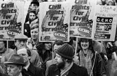 Protest at banning of trade unions at GCHQ. Demonstration during Day of Action - Peter Arkell - ,1980s,1984,activist,activists,anti-union,ban,banned,banning,bans,CAMPAIGN,campaigner,campaigners,CAMPAIGNING,CAMPAIGNS,Cheltenham,civil rights,civil service,Day of Action,DEMONSTRATING,demonstration,