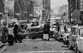 IRA car bomb blast in the street outside the Old Bailey court, London - Peter Arkell - 1970s,1973,adult,adults,Bailey,blast,bomb,bombing,bombings,bombs,cities,City,CLJ,Conflict,Conflicts,court,Crime,damage,damaged,death,deaths,destroyed,destruction,devastation,device,devices,died,explos