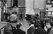 IRA car bomb blast in the street outside the Old Bailey court, London - Peter Arkell - ,1970s,1973,adult,adults,Bailey,blast,bomb,bombing,bombings,bombs,cities,City,CLJ,Conflict,Conflicts,court,Crime,damage,damaged,death,deaths,destroyed,destruction,devastation,device,devices,died,explo