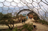Eco tourism. The Eden Project, St Austell. The Geostatic dome holds plants and vegetation from around the world. It is Cornwalls biggest visitor attraction. - Paul Box - 2000s,2001,ACE,Architecture,arts,attraction,Austell,buildings,centre,Cornwall,culture,development,dome,ecotourism,Eden,EDU education,ENI environmental issues,holiday,holiday maker,holiday makers,holid