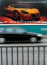 Billboards in Bristol with graffiti. Vauxhall billboard with anti car graffiti. - Paul Box - 2000s,2001,accident,accidental,accidents,advert,ADVERTISED,advertising,ADVERTISMENT,adverts,AFFLUENCE,AFFLUENT,against,anti,Anti Capitalist,AUTO,AUTOMOBILE,AUTOMOBILES,Automotive,automotive industry,b