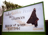 Billboard in Bristol with graffiti, Scottish Widows stakeholder pensions advertisement subverted with Take no chances Mask up when rioting! - Paul Box - 02-05-2001