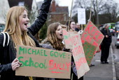 Students and pupils protest against Michael Gove visiting Marling school, Stroud, Gloucestershire. - Paul Box - 2010s,2014,activist,activists,adolescence,adolescent,adolescents,against,anti,Anti privatisation,Anti privatisation,anti privatization,CAMPAIGN,campaigner,campaigners,CAMPAIGNING,CAMPAIGNS,child,CHILD