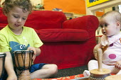 Children play with musical instruments, Norland Nursery, Bath. - Paul Box - 27-06-2012