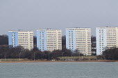 Housing overlooking the Solent, Southampton and the Isle of Wight - Paul Box - 2010s,2015,apartment,apartments,blocks,cities,city,COAST,Company,EBF,Economic,Economy,Esso,High Rise,Housing,OCEAN,Petroleum,sea,seafront,SEAFRONTS,seaside,seasides,Solent,Tower Block,urban,WATER,wate