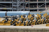 CAT diggers awaiting export, Southampton Docks - Paul Box - 07-01-2015