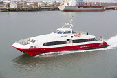Red Jet hi-speed passenger ferry service Southampton - Paul Box - 2010s,2015,AUTO,AUTOMOBILE,AUTOMOBILES,AUTOMOTIVE,boat,boats,capitalism,capitalist,car,cars,Company,EBF,Economic,Economy,Esso,ferries,ferry,Funnel,Industries,industry,Jet,maker,makers,making,marine,ma