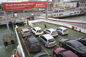 Red Funnel car ferry, Southampton - Paul Box - 2010s,2015,AUTO,AUTOMOBILE,AUTOMOBILES,AUTOMOTIVE,boat,boats,capitalism,capitalist,car,cars,Company,crew,crewman,crewmen,crewmenmaritime,dock,docked,docks,dockside,EBF,Economic,Economy,Esso,ferries,fe