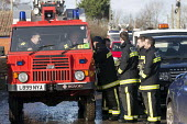 The fire service at Moorland, on the Somerset levels. - Paul Box - 07-02-2014