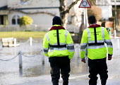 Environment Agency staff surveying the floods at Datchet, Berkshire which has been flooded after the Thames burst its banks. - Paul Box - 13-02-2014
