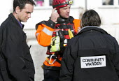Norfolk fire and rescue service are told by the community warden of a resident that needs assistance in Datchet , Berkshire which has been flooded after the Thames burst its banks. - Paul Box - 13-02-2014