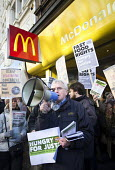 John McDonnell MP outside McDonald's, Launch of the Fast Food Rights campaign Oxford street, London - Paul Box - ,2010s,2014,activist,activists,at,BFAWU,CAMPAIGN,campaigner,campaigners,CAMPAIGNING,CAMPAIGNS,cities,city,contracts,DEMONSTRATING,demonstration,DEMONSTRATIONS,EARNINGS,EQUALITY,fair,fast food,fast foo