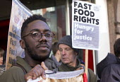 Launch of the Fast Food Rights campaign Oxford street, London - Paul Box - 2010s,2014,activist,activists,at,BAME,BAMEs,BFAWU,black,BME,bmes,CAMPAIGN,campaigner,campaigners,CAMPAIGNING,CAMPAIGNS,cities,city,contracts,DEMONSTRATING,demonstration,DEMONSTRATIONS,diversity,EARNIN