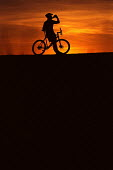 Mountain bike cyclist stops for a drink. - Paul Box - 2000s,2002,Bicycle,BICYCLES,BICYCLING,Bicyclist,Bicyclists,bike,biker,bikers,bikes,biking,Biking Trail,break,CYCLE,cycles,cycling,Cyclist,cyclists,DEHYDRATED,Dehydration,exercise,exercises,exercising,