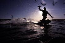 Kite surfer Aberaron Beach New Quay Cornwall - Paul Box - 14-09-2002