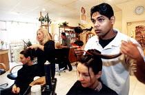 Hairdresser working in a hairdressers Salon, Bristol - Paul Box - 14-07-2000