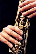 Andy Sheppard, jazz musician, playing the alto saxophone at Christchurch studios Bristol. - Paul Box - 14-01-2002