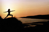 Yoga at Dawn, Freshwater West, Pembrokeshire. South Wales. - Paul Box - 14-07-2002
