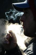 Man smokes a spliff - Paul Box - 18-10-2003