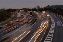 Motorway traffic at dusk , Bristol - Paul Box - 01-11-2003