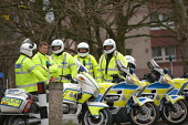 Police officers and police motorcyclists at the visit of Tony Blair, Barton Hill, Bristol - Paul Box - 27-11-2003
